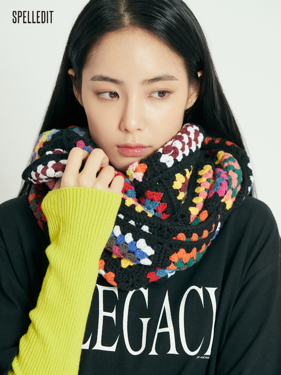 Multi Square Knit Scarf