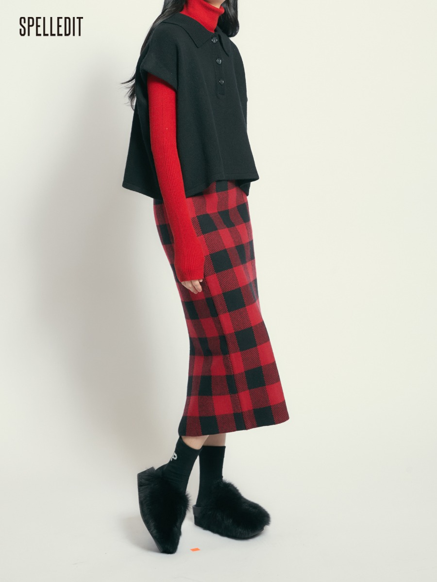 Knit Checked Skirt